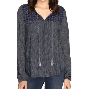 Sanctuary Blouse Poeta Knit Embroidered Striped L